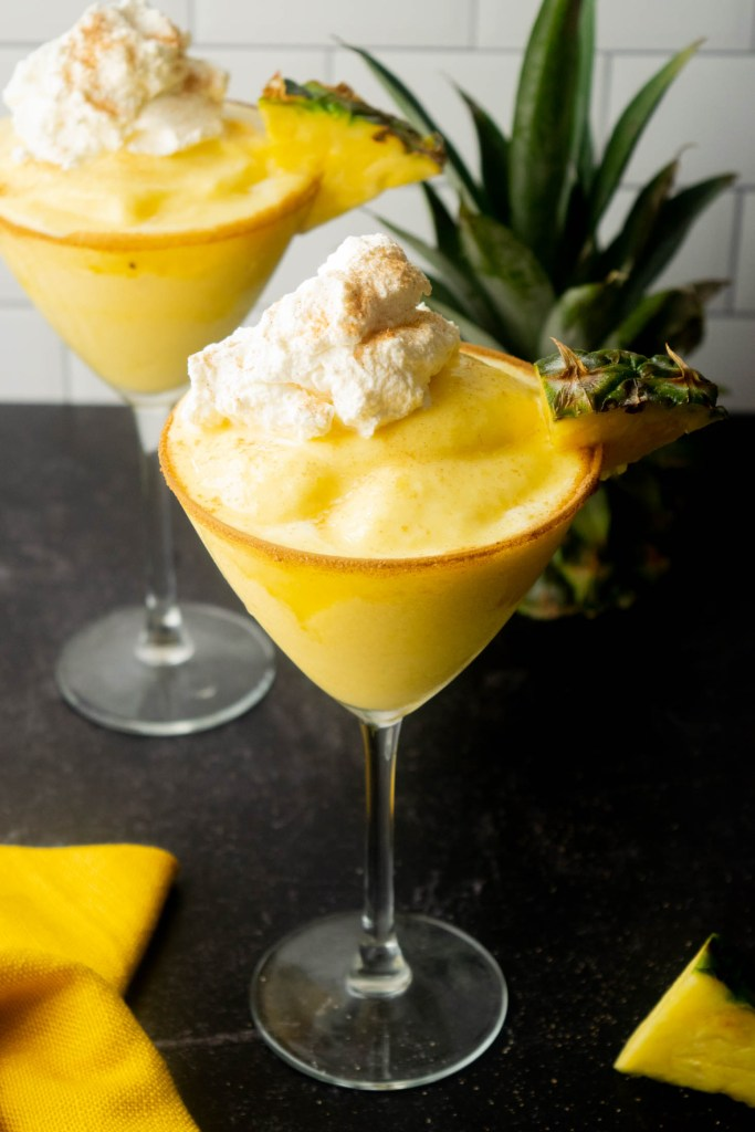 Boozy Tequila Dole Whip with Whipped Cream