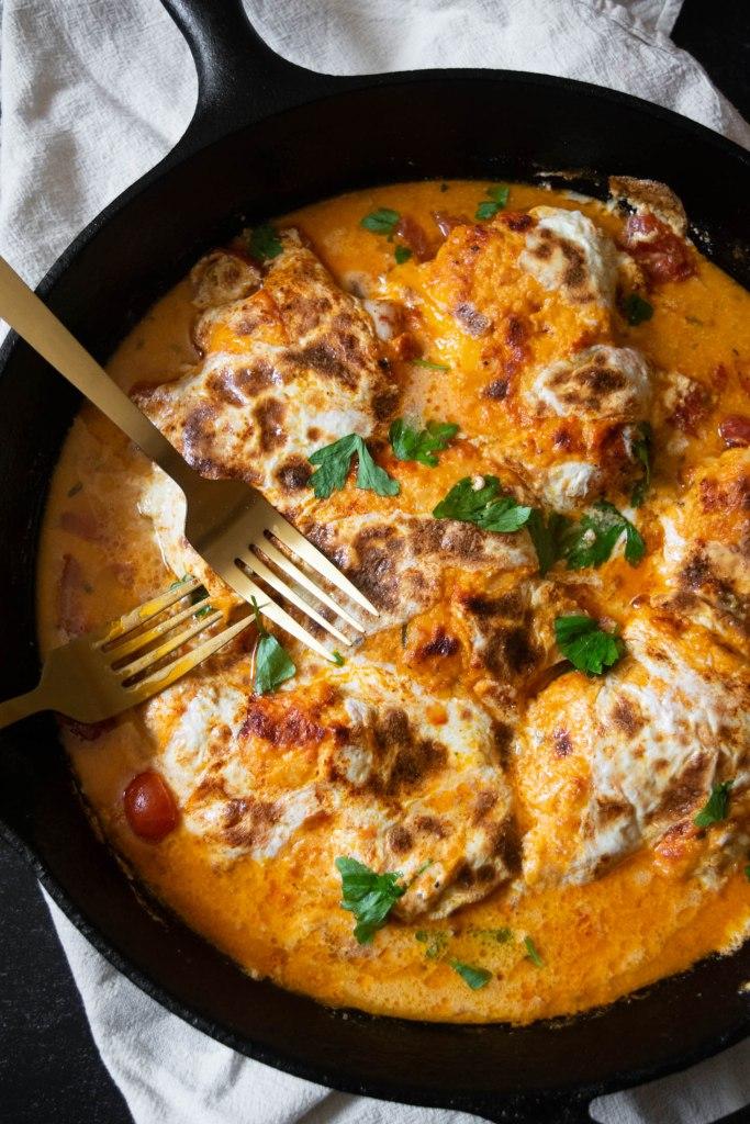 cast iron skillet pimento cheese chicken