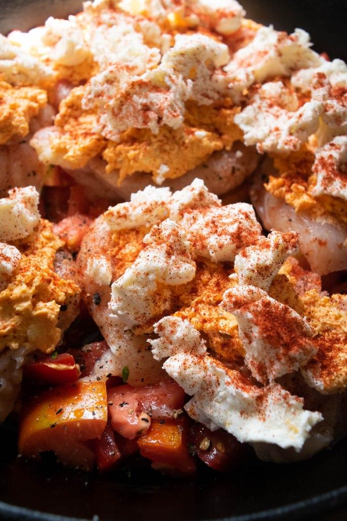 chicken breast with pimento cheese and mozzarella