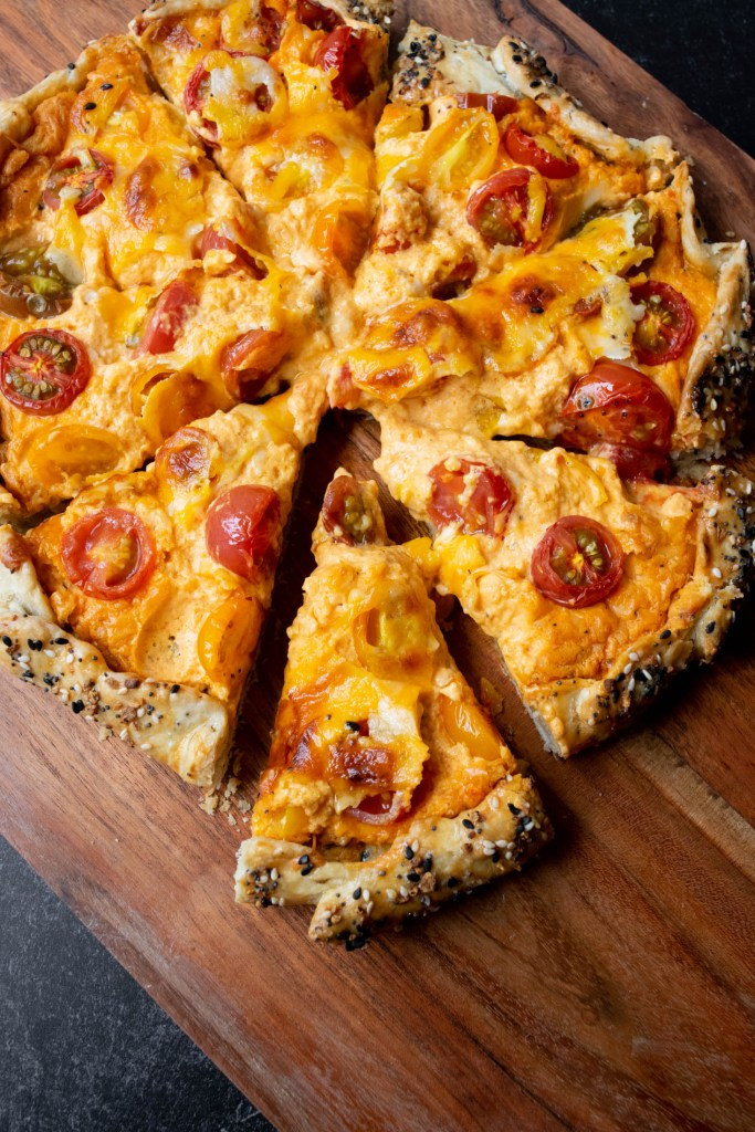 sliced pimento cheese and tomato galette