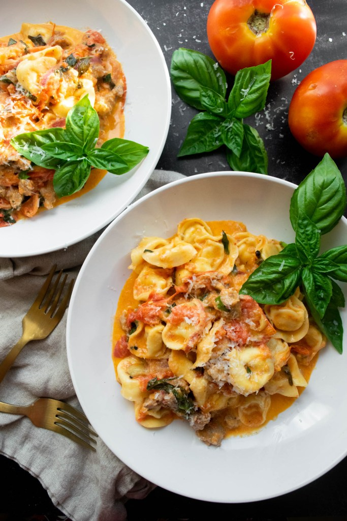 Cheese Tortellini with Roasted Tomato and Sausage Cream Sauce