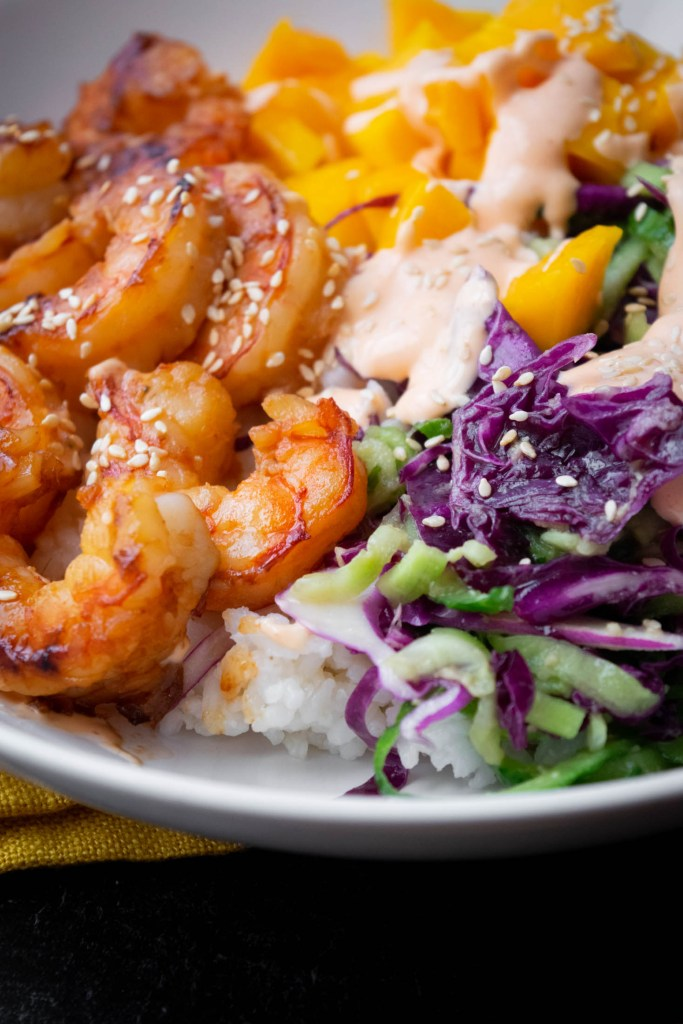 shrimp mango poke bowl closeup