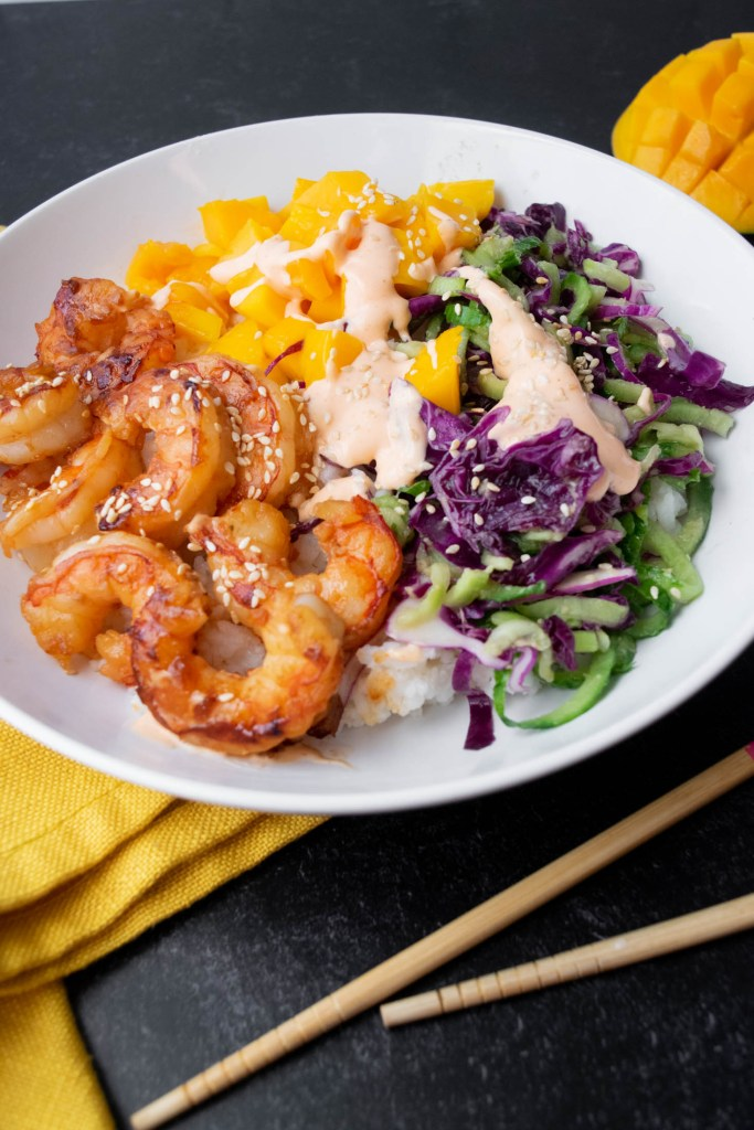 Shrimp & Mango Poke Bowls with Wasabi Ginger Dressing