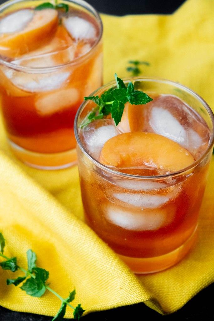 Big batch peach infused vodka and tea