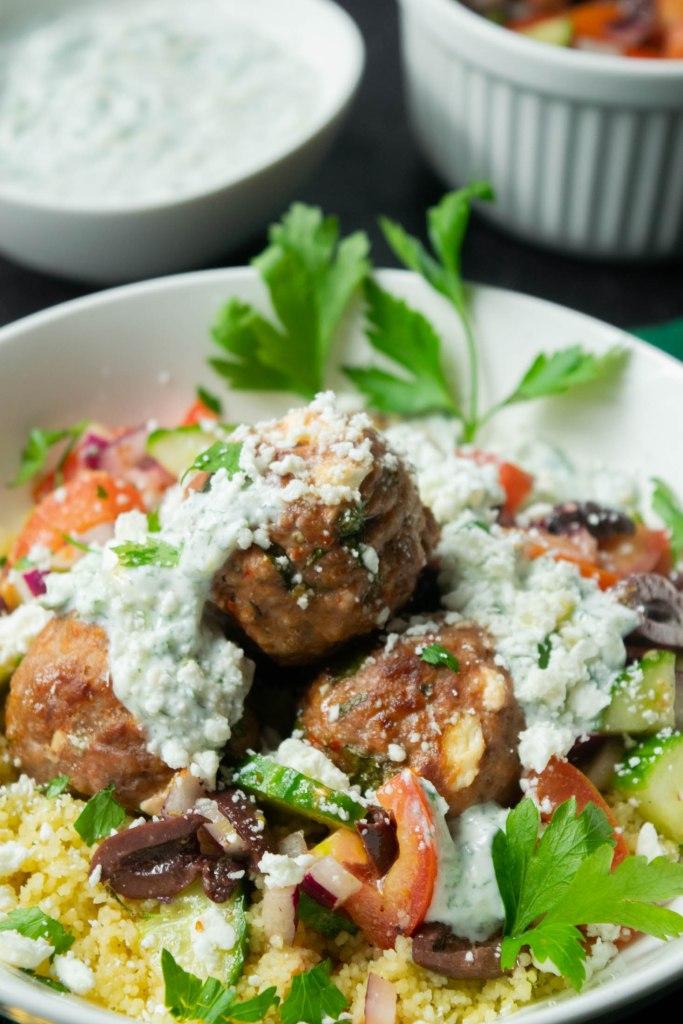 lamb meatball bowls