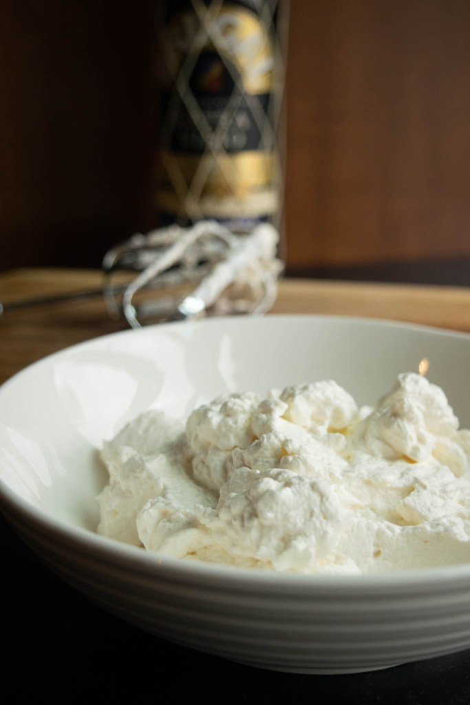 homemade whipped cream with rum