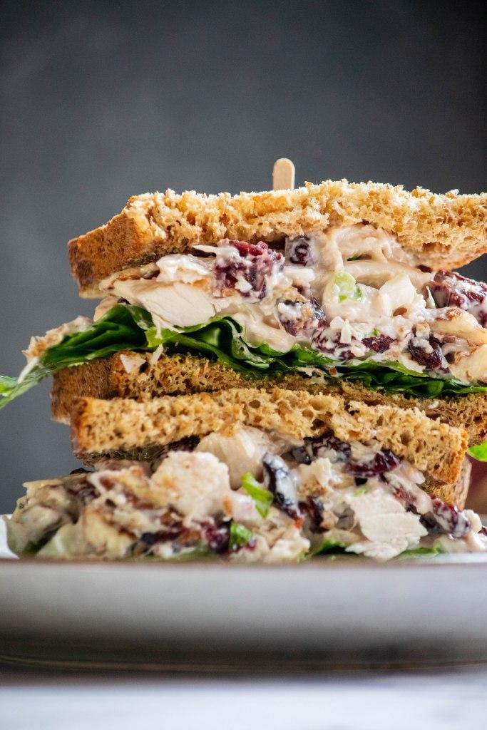cranberry pecan chicken salad sandwich