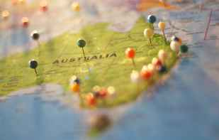Map of Australia in Oceania.