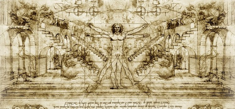 A visual combining Leonardo's lifetime of inventions and drawings.