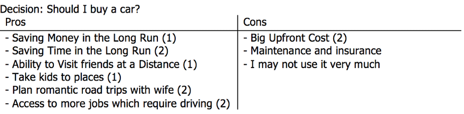 Example of a decision making with Benjamin Franklin's Framework