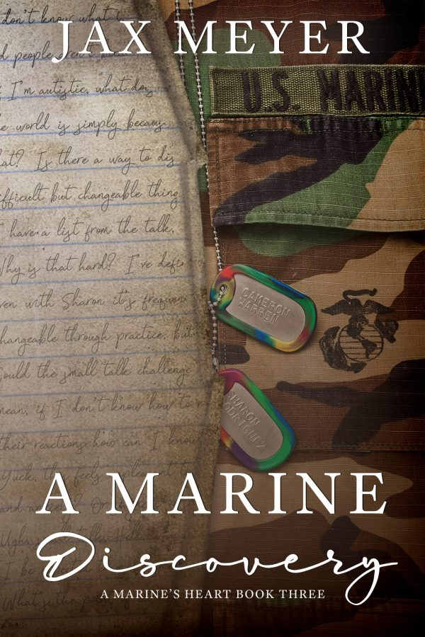 Marine Discovery covery with a page of handwritten journal on the left and Marine camouflage uniform on the right