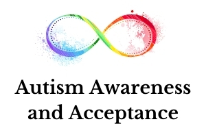 a rainbow infinity symbol over the words autism awareness and acceptance