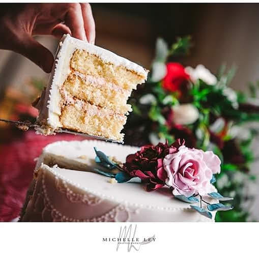 Slice of cake being cut and pulled out of cake