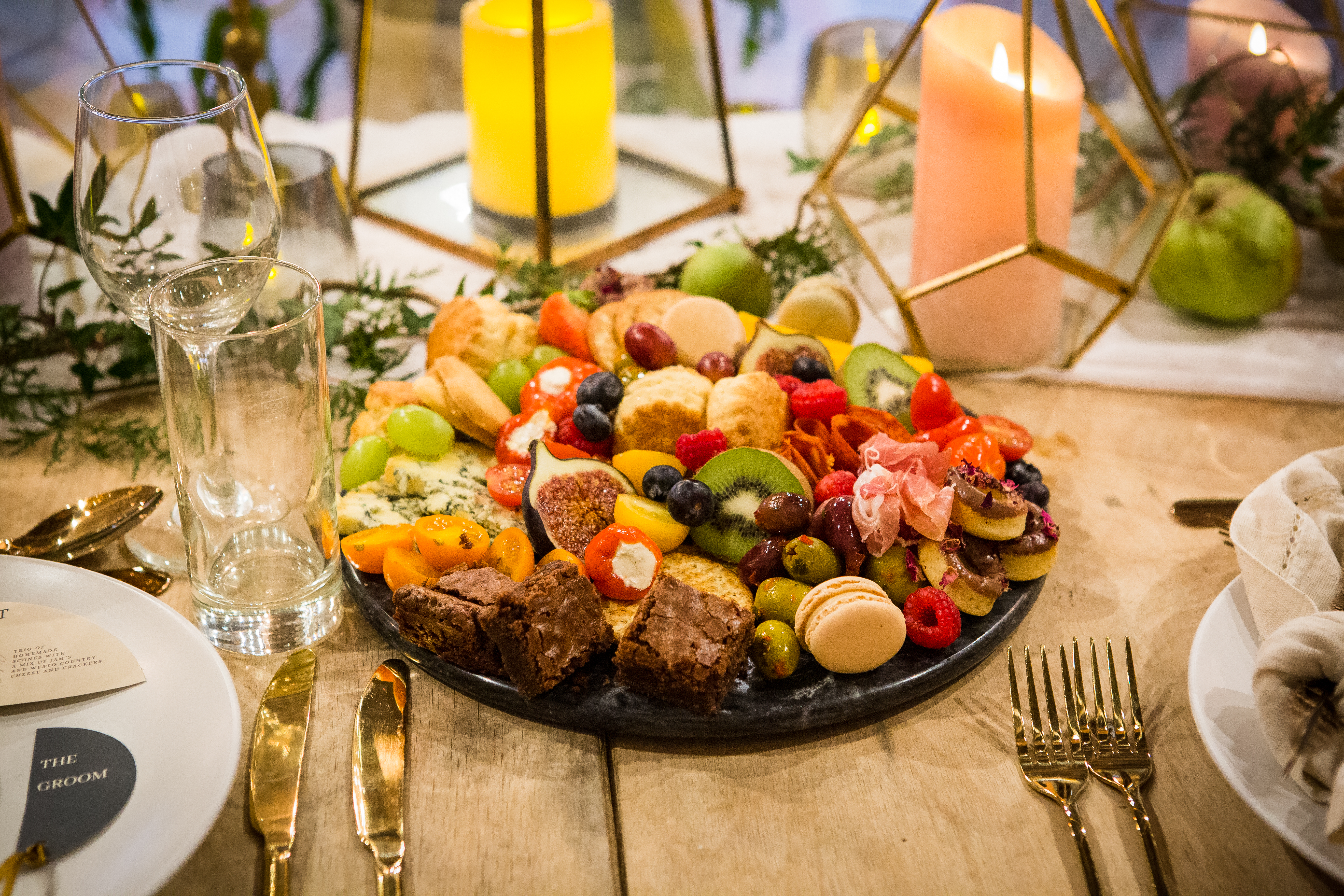 A sweet & savoury sharing platted for a top table at a wedding.