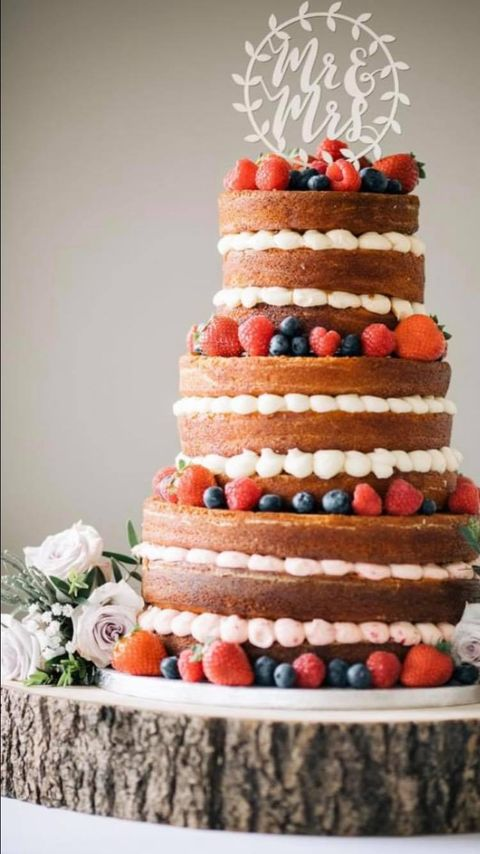 3 tier naked cake with fresh fruit
