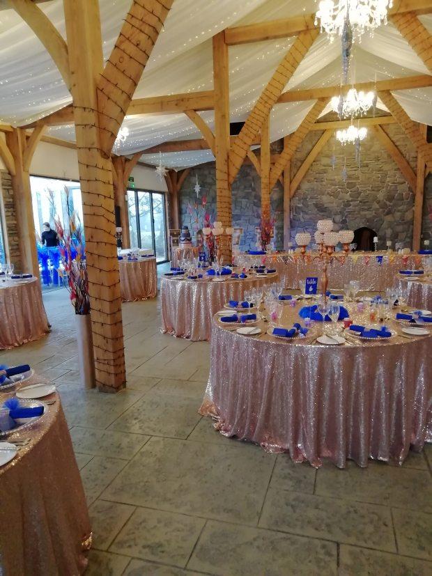 rose gold & royal blue wedding styling