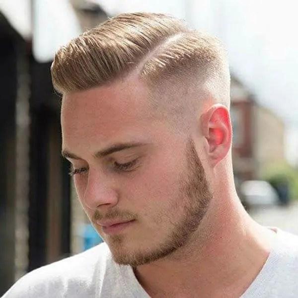 Lower Pompadour mens short hairstyles