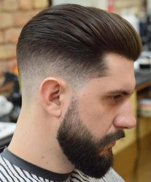 Tapper Fade Pompadour mens short hairstyles