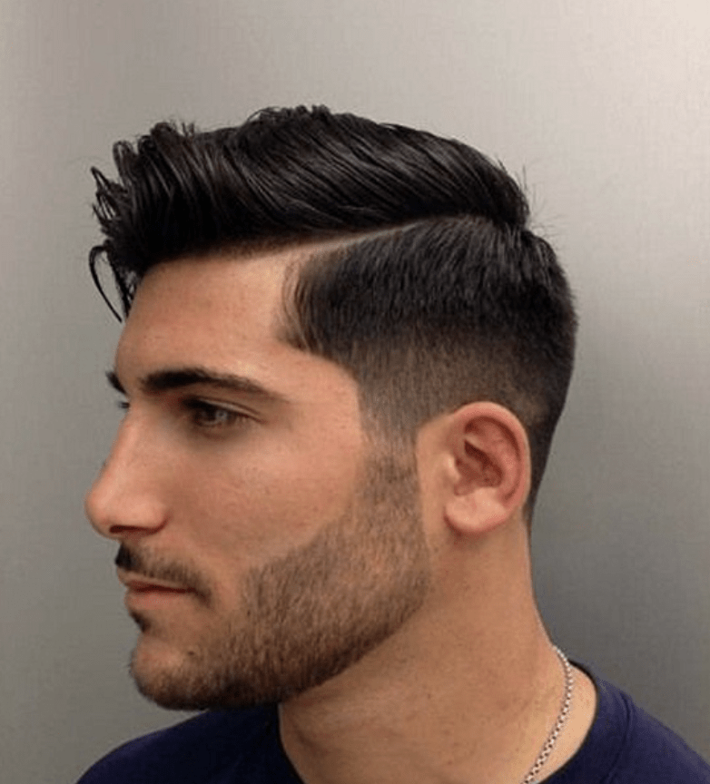 Side Part With A Fade Pompadour mens short hairstyles