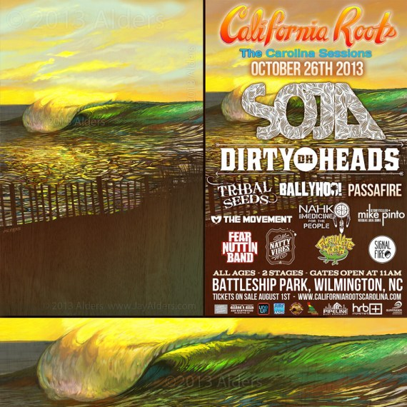 Surf Art by Jay Alders for California Roots Festival
