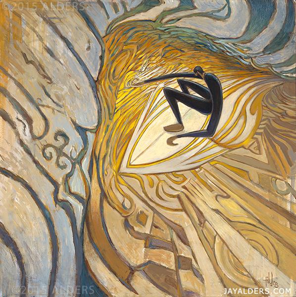 Corner Pocket, surf art painting by Jay Alders