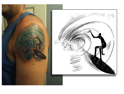 book for Surfer Magazine drawn by Jay Alders…Ink by: Madman Vinny Tattoo