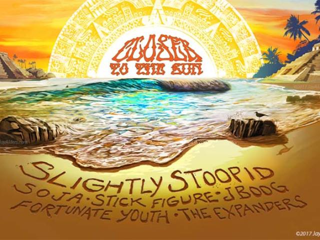 Closer To The Sun Tour Poster by Jay Alders featuring Slightly Stoopid,Soja,Stick Figure,J Boog