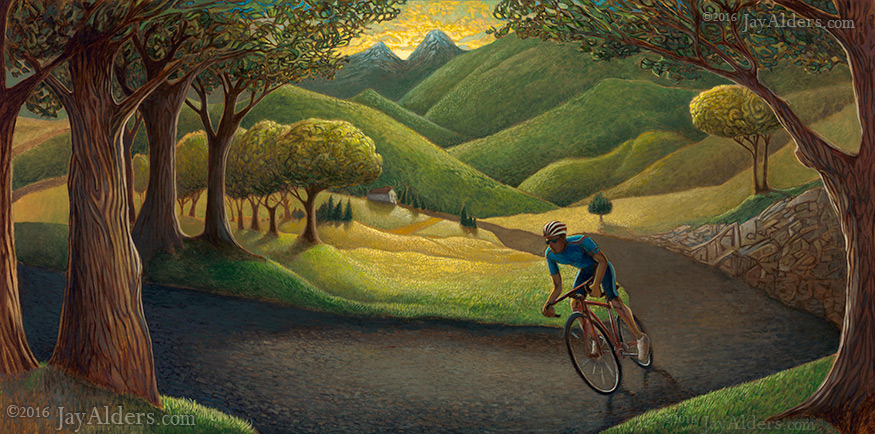 Mountainside Cruise - Road Cycling Art by Jay Alders