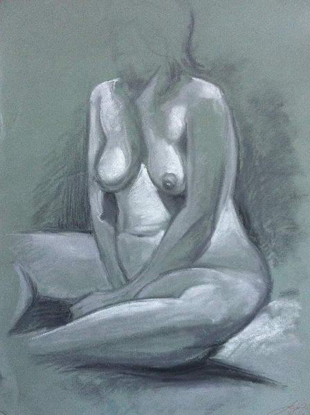 Pastel Nude Woman Untitled
