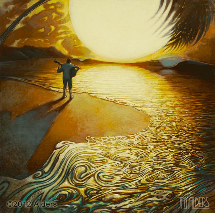 Sea Zen of Tranquility - guitar art on beach