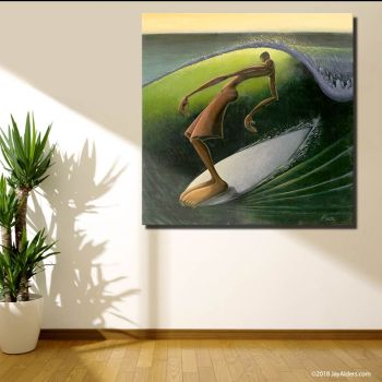 Solitube - Modern Surf Art Print of a long boarder by Jay Alders