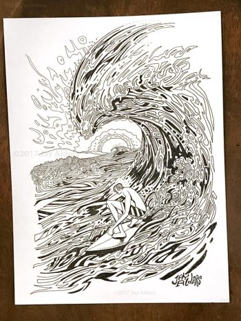 Surf Aid Santa Cruz original ink drawing by Jay Alders