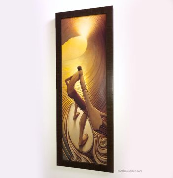 Pot of Gold surf art print in frame by jay alders