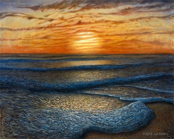 Ripple Effect - sunrise at the beach painting by jay alders