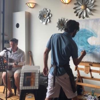 "Jay Alders painting ""Swell Brew"" live in Bradley Beach NJ"