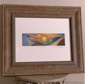"""""""Love Birds"""" Art Print in frame by Jay Alders of 2 birds in flight over a beach"""