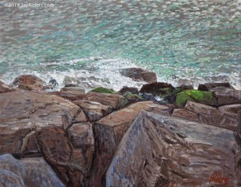 Painting of the manasquan inlet surf beach by Jay Alders