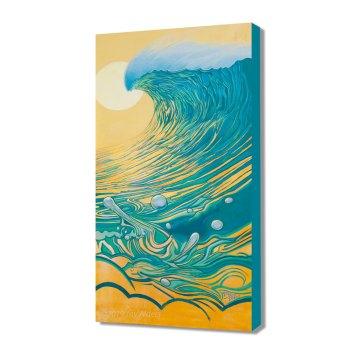 Yellow and Teal Peel - Big ocean wave surf art