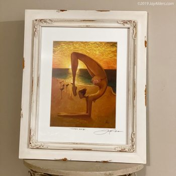 Contemporary yoga art (Scorpion pose) on a sunset beach by Jay Alders