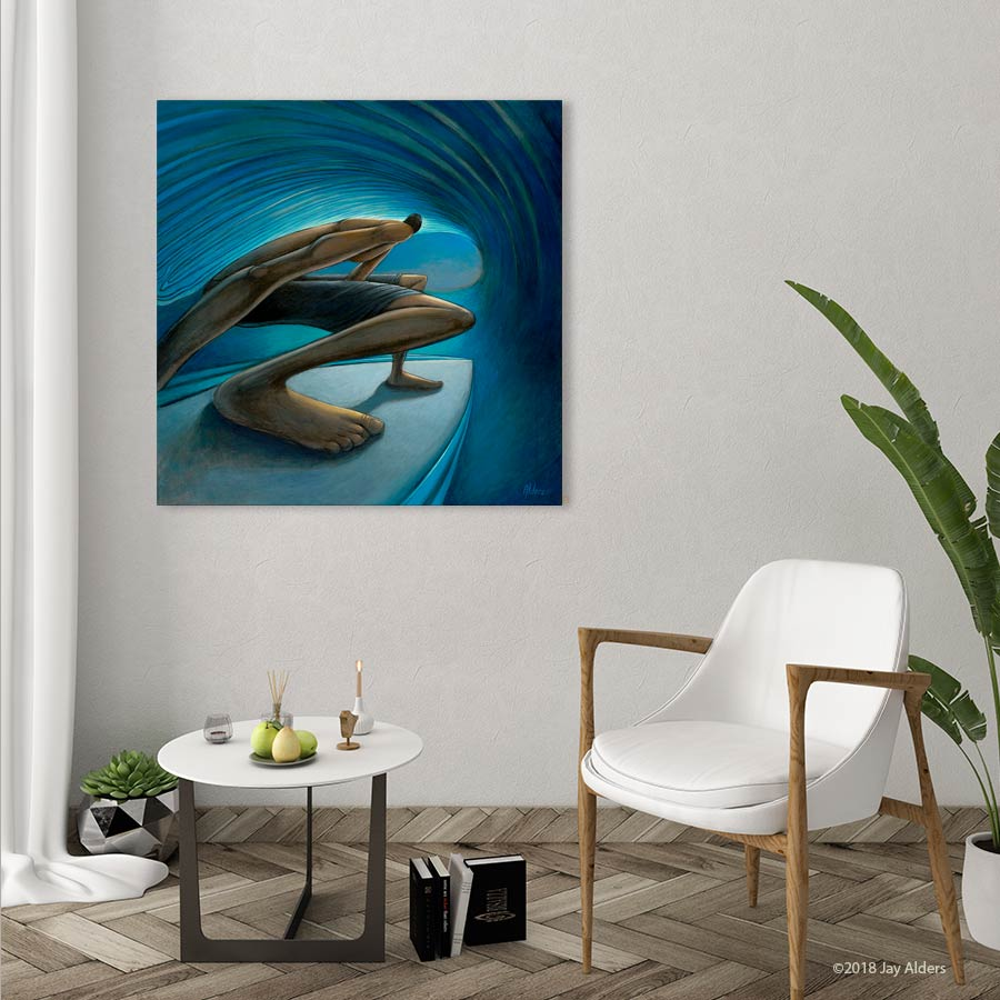 The Down Low - Elongated surfer art print by Jay Alders