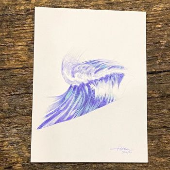 ballpoint pen surf wave drawing