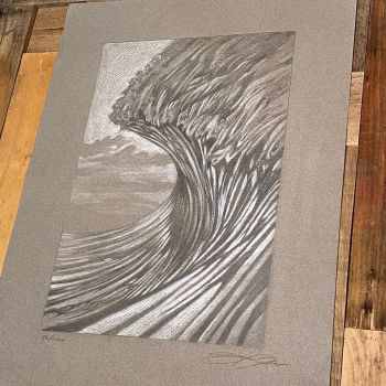 pencil drawing of an ocean wave by Jay Alders