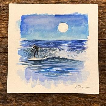 Watercolor surfer under moonlight