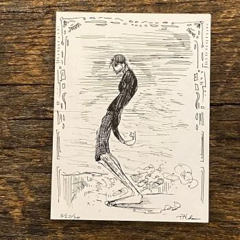 surfer hang ten drawing