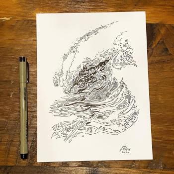 Ocean wave ink drawing