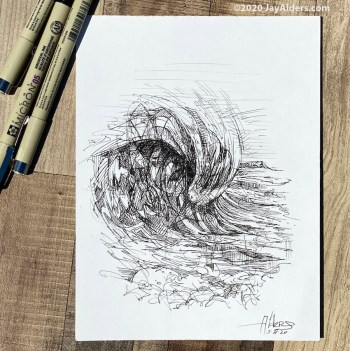 contemporary ink drawing of a big ocean wave