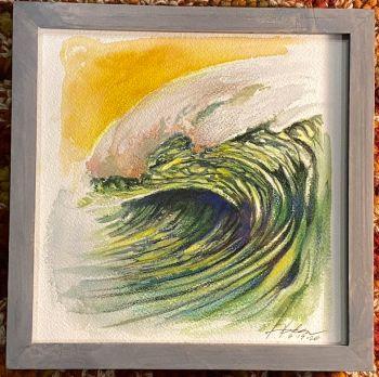 surf art watercolor ocean painting