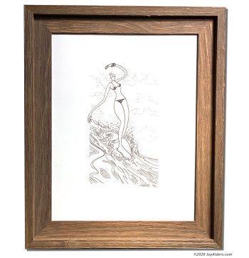 Longboard surfer girl ink drawing by contemporary artist Jay Alders
