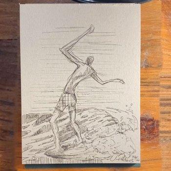 7820 Surfer drawing by modern surf artist Jay Alders