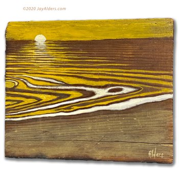 Oceanscape beach scene painted on reclaimed wood by Jay Alders